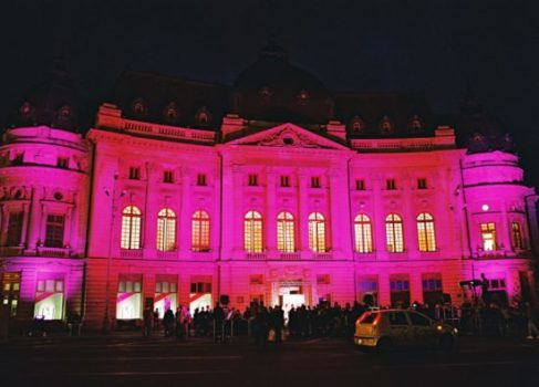 Iluminare în roz 2005 - Biblioteca Centrala Universitară