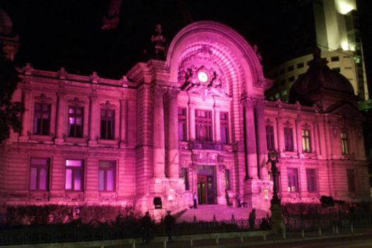 Iluminare în roz 2004 - Cladirea CEC